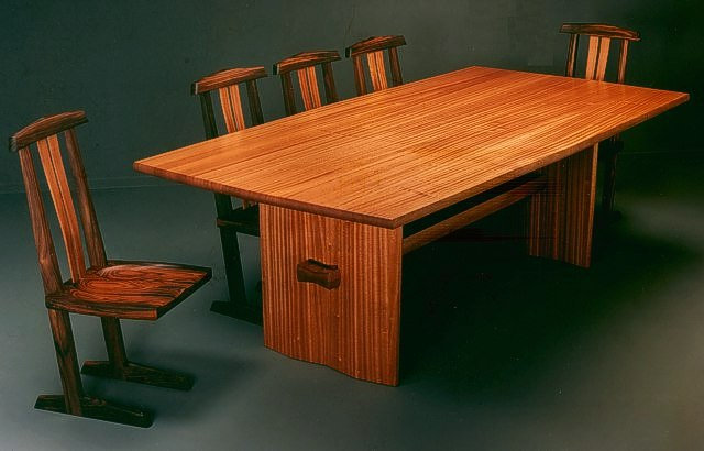 Butterfly's Shadow Table Set in Bubinga by Michael Elkan