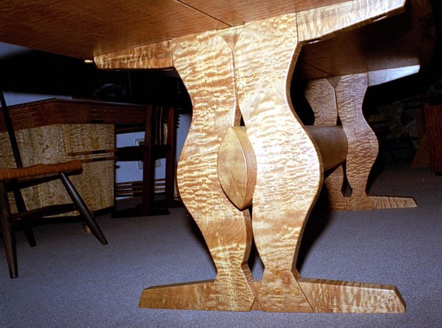 Below table view of Quilted Lady Table by Michael Elkan