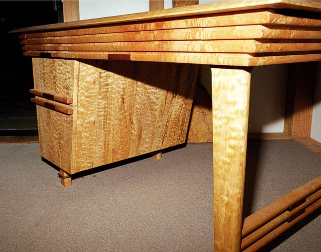 Slat Work Desk: Maple with Chechen Details by Michael Elkan