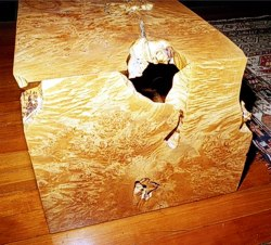 Folded Maple Burl detail on Folded Board Coffee Table by Michael Elkan