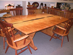 Natural Caverns Table Set in Quilted Maple with Walnut & Maple chairs by Michael Elkan