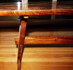 Trestle view of Original Trestle Table in Walnut by Michael Elkan with Ken Altman, master bowmaker