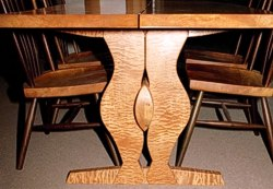 Below table view of Quilted Lady Table with Walnut & Maple chairs by Michael Elkan