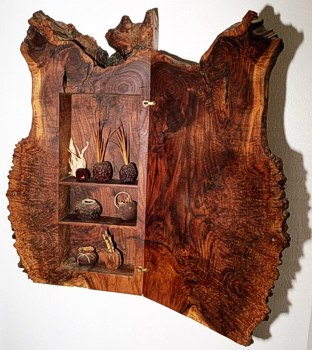 Interior view of Walnut Burl Cabinet by Michael Elkan